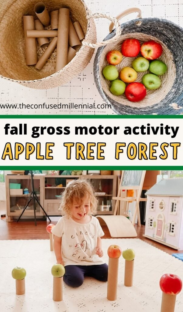 Looking for an EASY fall gross motor activity for toddlers and preschoolers? Try APPLE TREE FOREST! Using items you already have at home, this makes the perfect indoor low mess activity for cold November days!