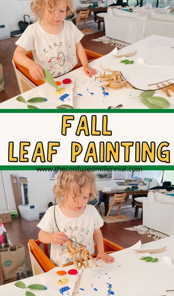 If you're wondering what leaf painting is for kids, don't stress! Discover a few tips and ideas for fall leaf painting. It's an easy activity for toddlers and older kids! Plus I'm sharing some of the benefits of leaf painting for toddlers and big kids!