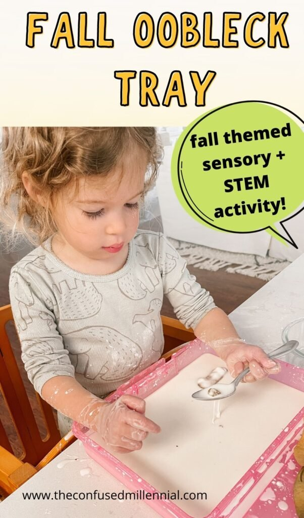A fun fall messy activity to do at home with toddlers, preschoolers, and school aged kids! A fall oobleck tray is a great fall themed STEM activity and promotes sensory learning through hands on play!