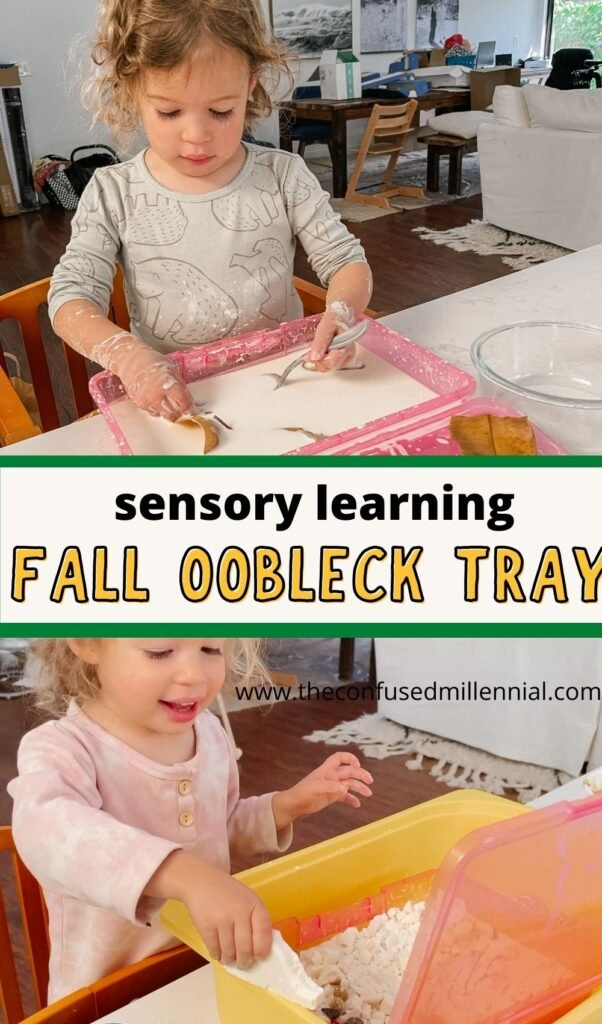 A fall oobleck tray is a great fall themed STEM activity and promotes sensory learning through hands on play!