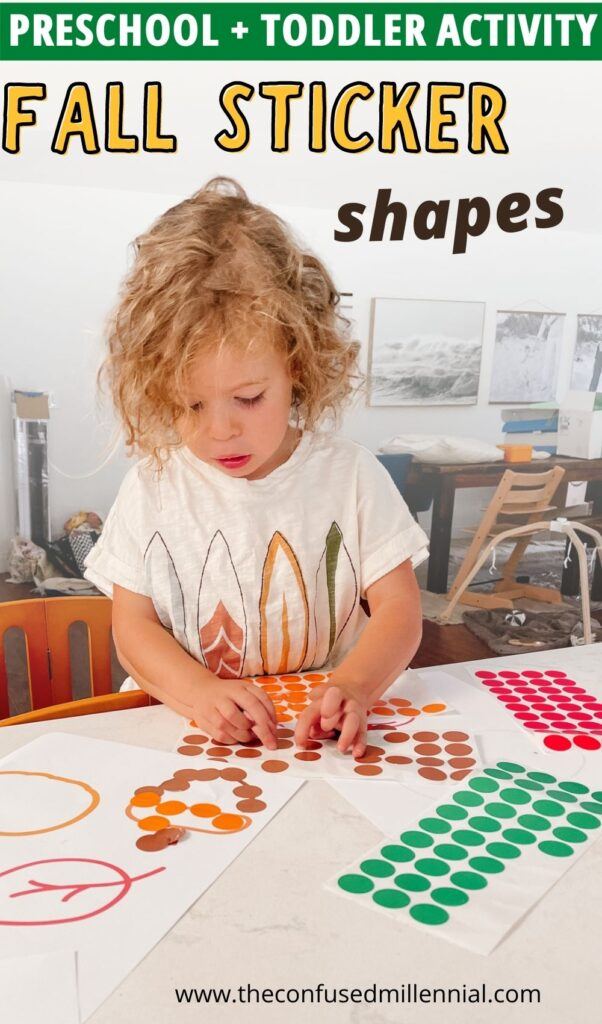 Discover a simple, low mess fall activity to do with your toddler or preschooler at home, look no further than sticky shapes! It sounds messy, but it isn't! The best part? You only need two supplies and can set it up in under a minute!