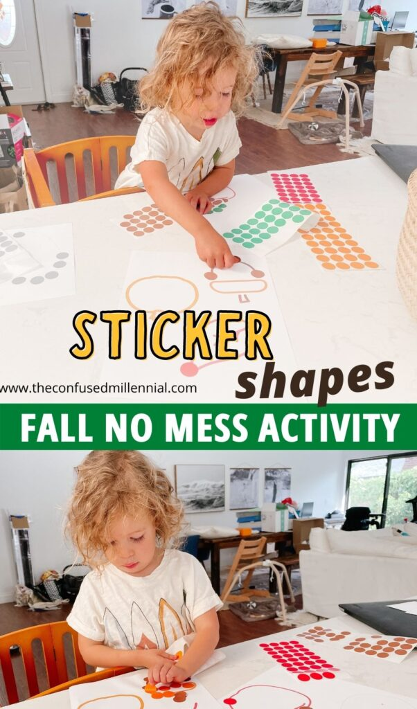 Easy, no mess fall toddler activity you can do at home and set up in minutes: fall sticker shapes! Discover how this boosts concentration, independent play, and spatial relations here!
