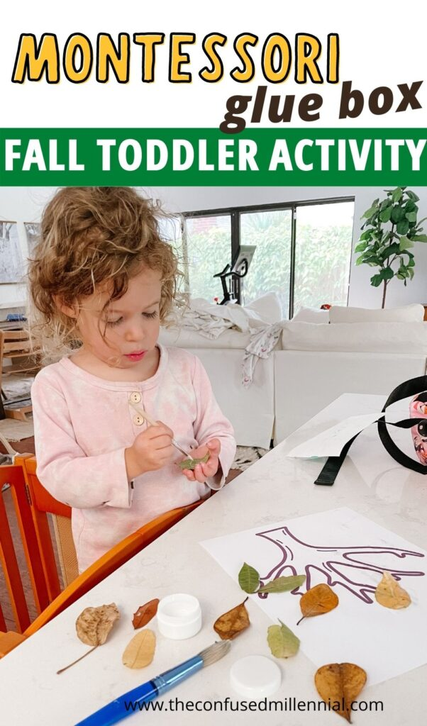 """""""Fallen Leaves"""" combines the montessori glue and paste box with a fun fall theme working tons of skills to create an engaging toddler and preschooler activity!"""