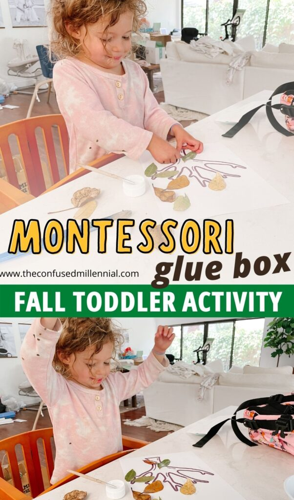 """The Montessori glue  box is a staple in montessori education and a fantastic montessori at home activity working fine motor skills, concentration, and more! """"Fallen Leaves"""" combines the montessori glue and paste box with a fun fall theme working tons of skills to create an engaging toddler and preschooler activity!"""