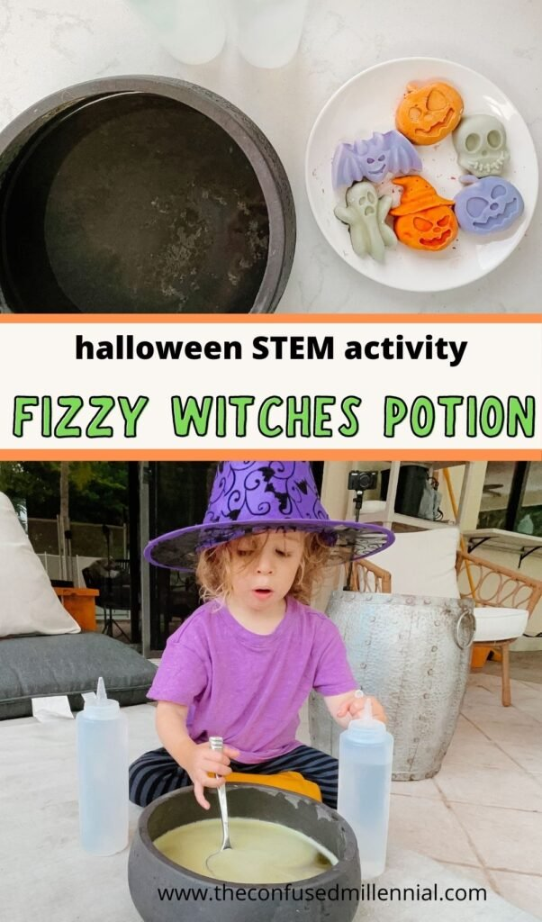 Looking for an easy Halloween STEM activity to do at home this Fall October? Try Fizzy Potion! An easy, at home toddler activity for Halloween!