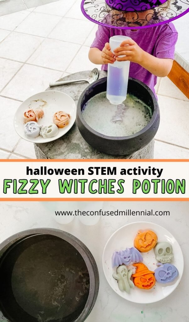 Discover the easiest + best Halloween sensory learning activity to do at home this October! Try Fizzy Potion! The perfect indoor or outdoor Halloween STEM activity for toddlers and preschoolers!