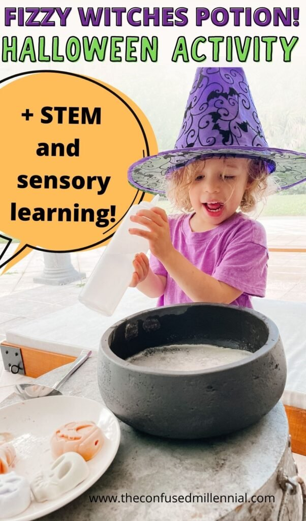 Looking for an easy Halloween STEM activity to do at home this Fall October? Try Fizzy Potion! The perfect indoor or outdoor Halloween activity fo preschoolers!