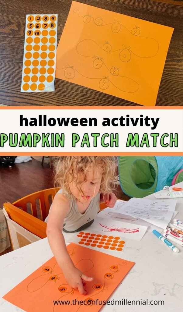 Looking for a no mess fall or Halloween activity to do at home with your preschool kids? This pumpkin patch activity is perfect for refining fine motor skills and teaching numbers or letters to preschoolers!
