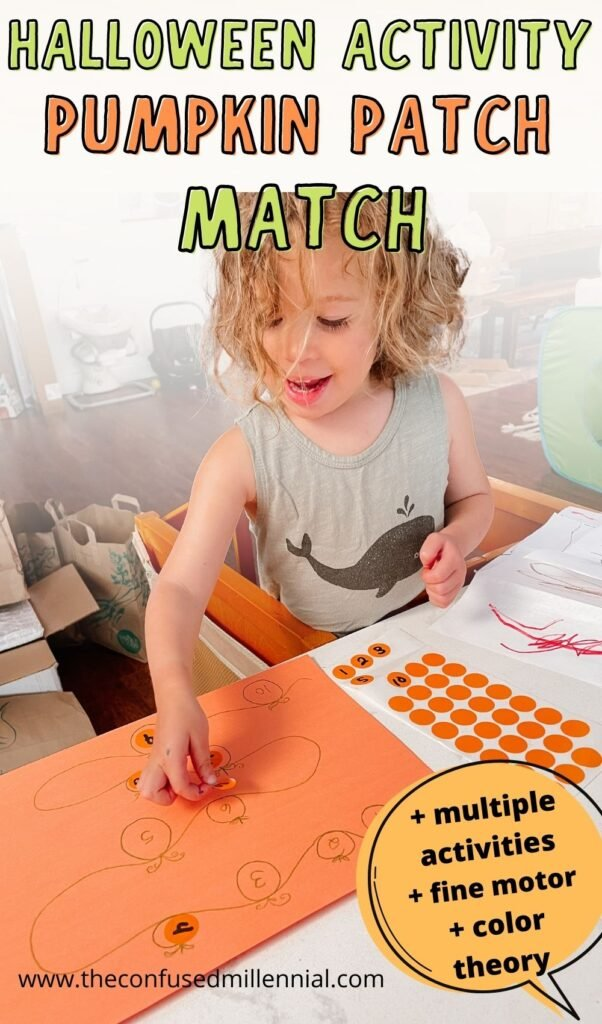 Looking for an easy Halloween or fall activity to do at home with your preschool kids? This pumpkin patch activity is no mess and perfect for refining fine motor skills and teaching numbers or letters to preschoolers!