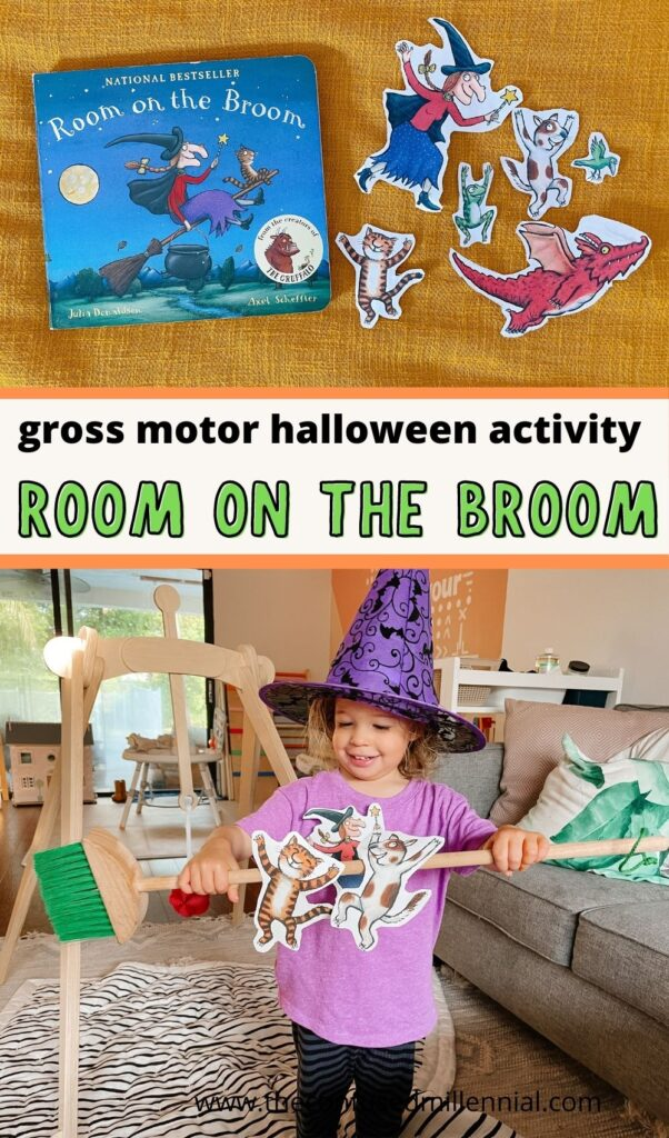 """Looking for a fun """"Room On The Broom"""" Activity for preschool aged kids? Your child will love this gross motor activity that will have them flying all around the house to collect their favorite friends while reading the book!"""