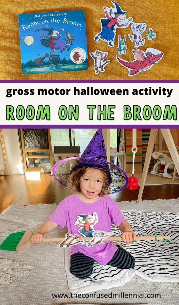 Room On The Broom character printable PDF for a fun Halloween gross motor activity that combines literacy, learning, and burning off the toddler and preschool energy when stuck inside on a cold Fall day!