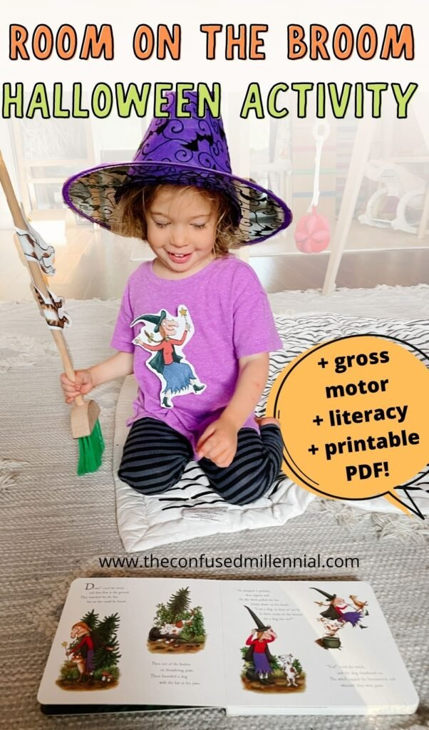 Looking for a fun Room On The Broom activity for a preschool aged child? They'll love this gross motor activity using a Room On The Broom printable PDF that has them flying around the house collecting their favorite characters while reading the book!