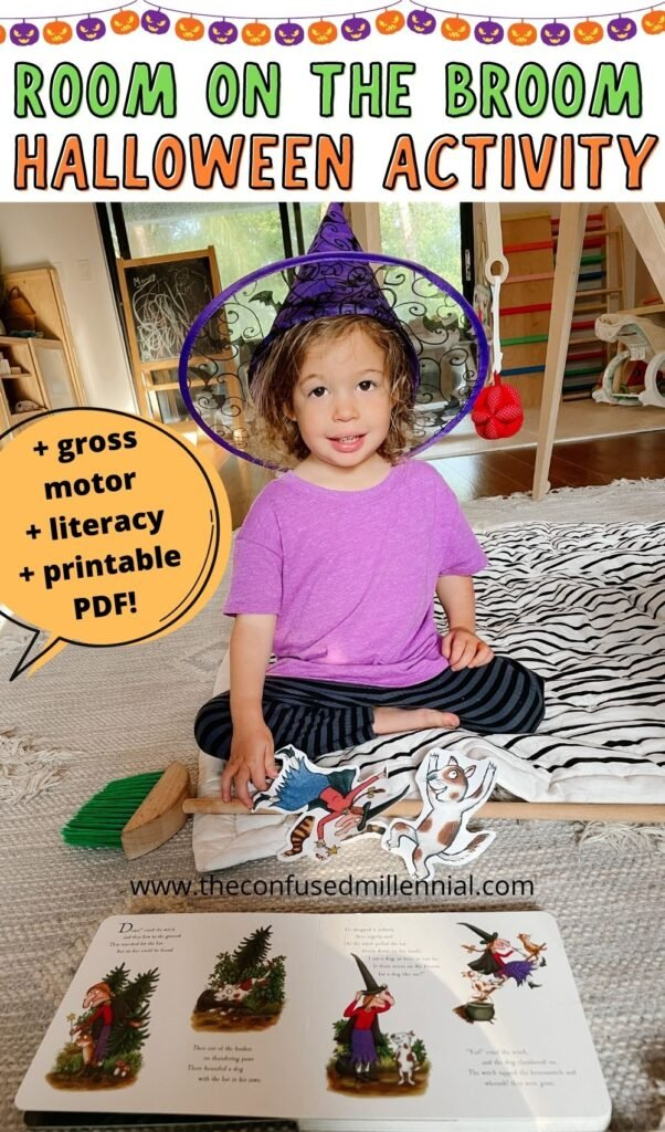 Easy indoor Halloween activity working gross motor skills in preschoolers and toddlers plus encouraging literacy and a love of books using the characters from Room On The Broom!