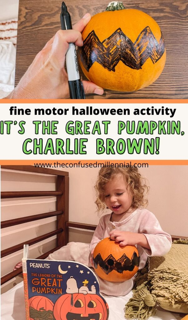 Looking for a creative, fun, and easy Halloween activity inspired by It's The Great Pumpkin, Charlie Brown? Your toddler or preschooler will love this activity using a real pumpkin and refining their fine motor skills while flexing some creativity!