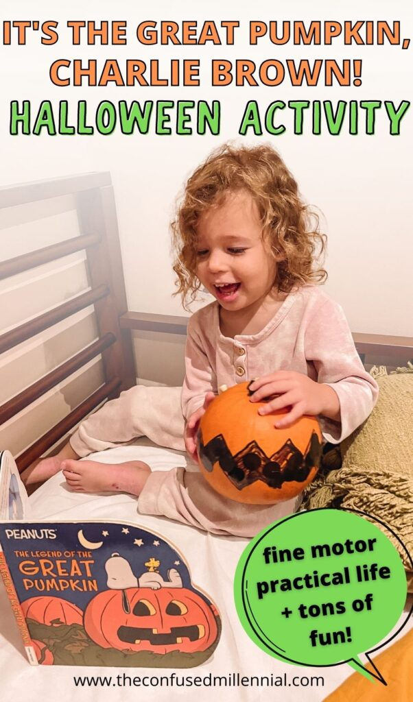 Looking for a creative, fun, and easy pumpkin activity inspired by It's The Great Pumpkin, Charlie Brown? Your toddler or preschooler will love this Halloween activity using a real pumpkin! It works on their fine motor skills while flexing some creativity and building a love of reading!