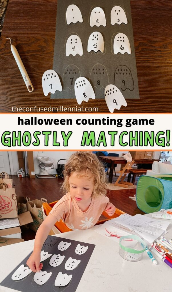 An easy ghostly matching game for Halloween! You can tailor this for your toddler or preschooler and do it multiple ways!