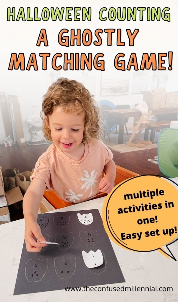 An easy halloween activity for toddlers and preschoolers to do at home: ghostly matching! You can make this a halloween counting activity or sequencing activity with colors and shapes!