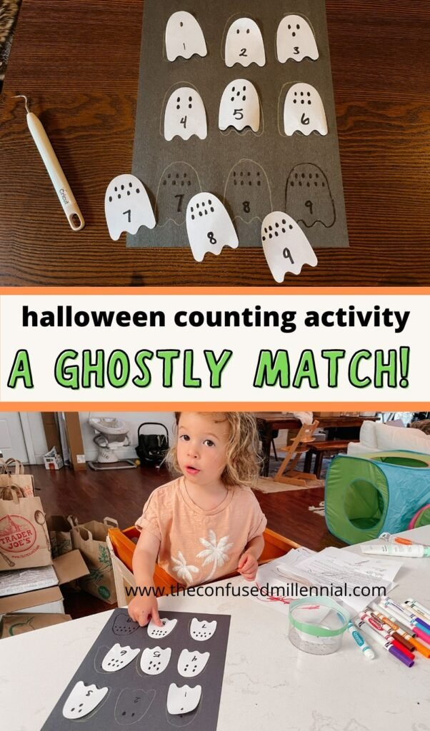 Looking for an easy Halloween counting activity you can do at home with your toddler or preschooler? I've got the perfect ghostly matching game for you!