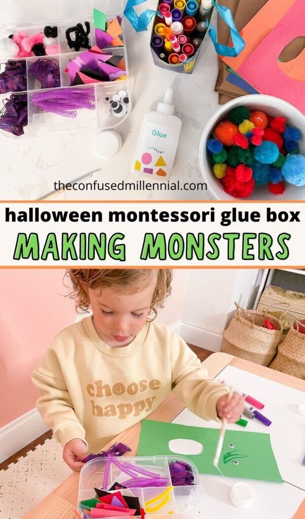 Looking for an easy Halloween montessori art activity? You're sure to love this spin on the montessori glue box Halloween craft: Making Monsters!