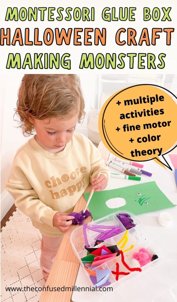 An easy montessori art activity for Halloween you can do at home with toddlers and preschoolers: Making Monsters! This Halloween craft is perfect for montessori learning at home, fine motor skills and more!