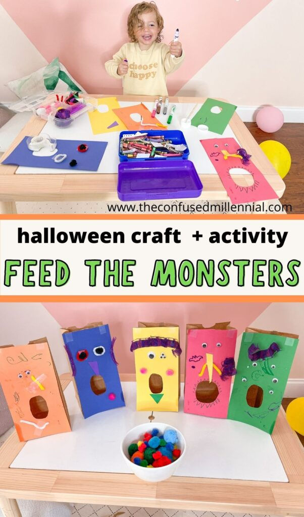An easy halloween craft and activity: feed the monsters! Great for toddlers, preschoolers, and kids!