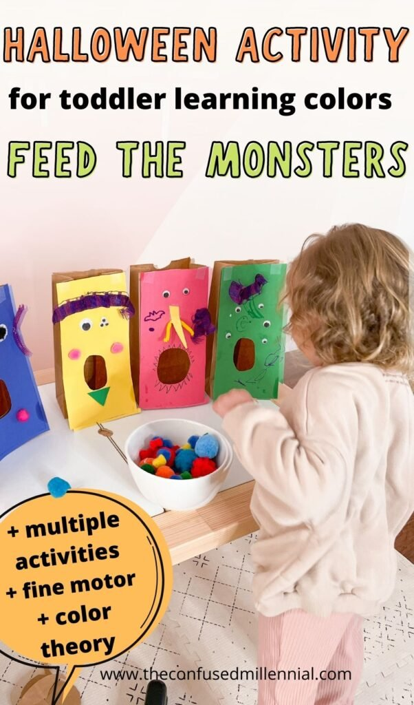 Looking for a fun Halloween activity for toddlers learning colors? Feed The Monster's teaches color matching while providing a ton of fun!