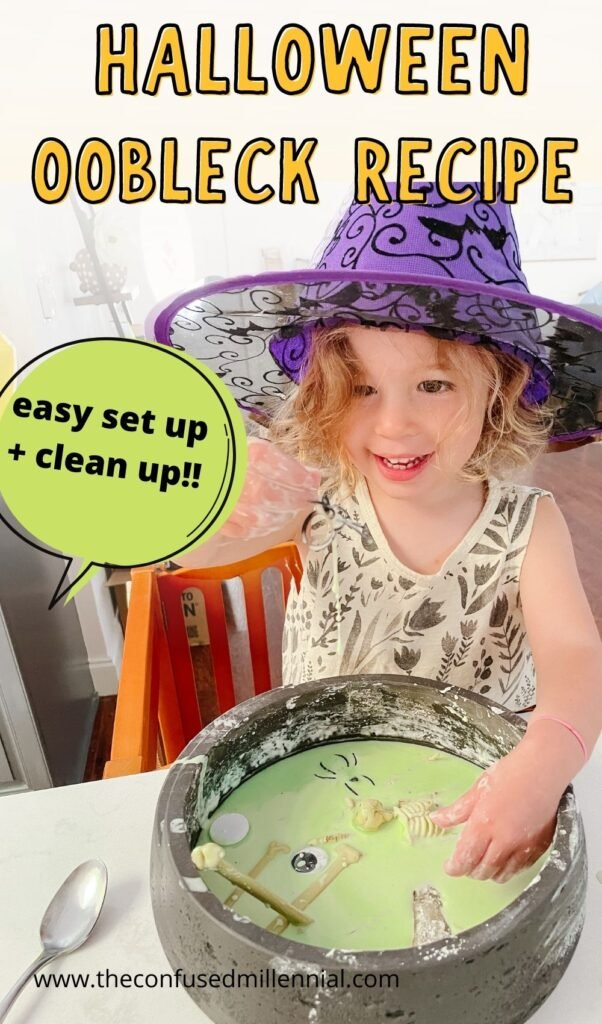 An easy halloween oobleck recipe and sensory learning activity for toddlers using just a couple of ingredients that you already have at home!