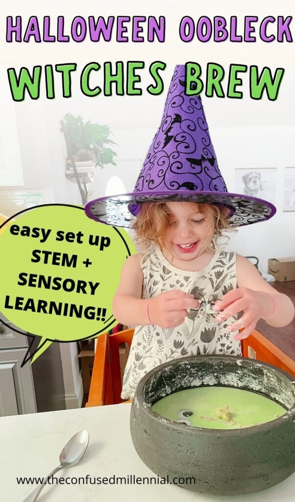 Easy halloween oobleck recipe for toddlers and preschoolers to enjoy a STEM and sensory learning activity at home with the original slime!!