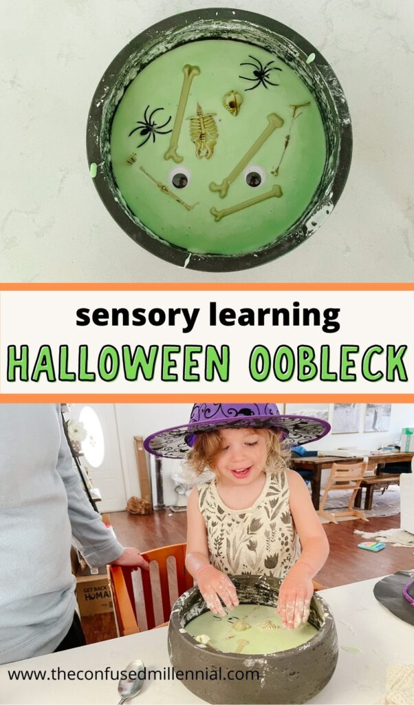 Create a fun and easy sensory learning experience by making Halloween oobleck (aka halloween slime!) its just 2 ingredients for loads of STEM and sensory play ideas to do at home!