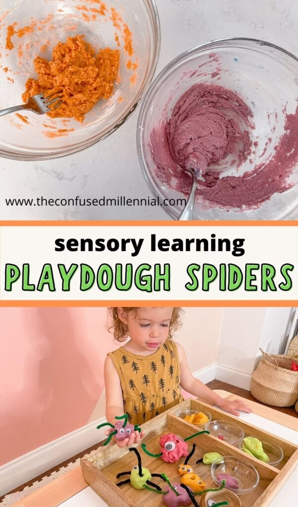 Looking for an easy Halloween play dough activity for preschoolers and toddlers?  Forget about plasticine kits and create your own spider plasticine set with just a few affordable materials that you probably already have at home!