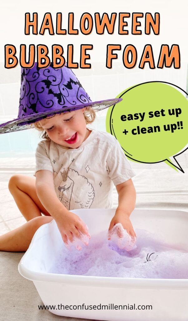 Learn how to make a witches potion sensory bin using bubble foam! This Halloween sensory play idea is perfect for toddlers, preschoolers and kindergartners who want to feel a little witch - y while playing with soap foam at home! You can make it using household items you already have!