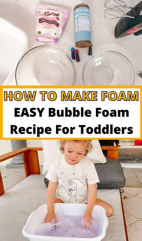 Discover how to make foam! This EASY bubble foam recipe uses just TWO play foam ingredients for the ultimate sensory learning experience! It's no secret there are tons of benefits to foam sensory play! You can even had your toddler or kids learn how to make play foam and do it themselves! Plus I'm sharing loads of foam sensory play ideas and activities for toddlers and big kids!