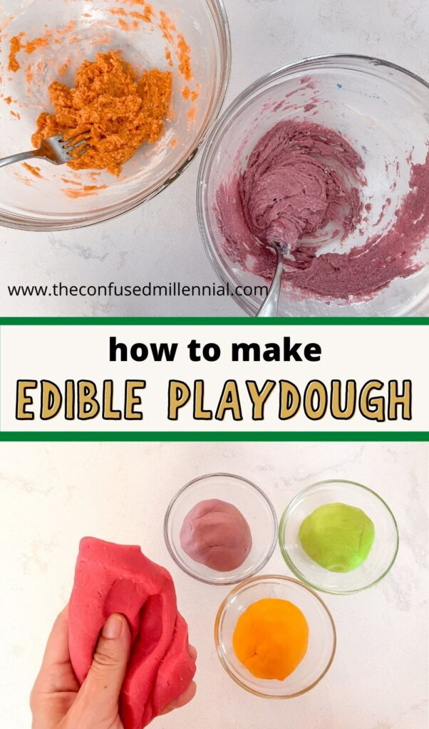 How to make soft edible playdough! Sharing 3 homemade playdough recipes using stuff from your pantry! A 2 ingredient recipe without cream of tartar or flour or salt! A 3 ingredient recipe without flour, and two edible recipes for toddlers sensory play!