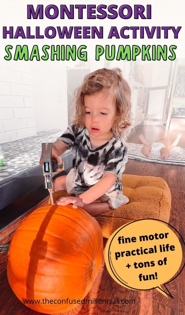 Looking for a no mess montessori halloween activity? Discover smashing pumpkins! This is a great fine motor and practical life skills halloween activity for toddlers and preschoolers!